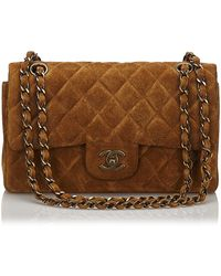 Chanel - Brown Dark Brown Suede Leather Classic Small Double Flap Bag France W/ Authenticity Card - Lyst