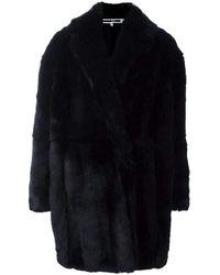 McQ Mcq Alexander Mcqueen Black Oversized Faux Fur Coat