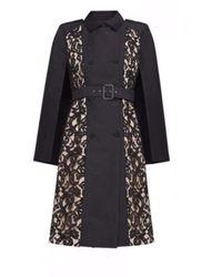 BCBGMAXAZRIA Genevieve Genevieve Lace Cape Dress - Black