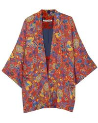 Elizabeth and James Drew Floral-print Crepe Kimono - Red