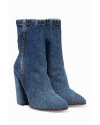 Dries Van Noten - Blue Denim Angled Heel Boots - Lyst