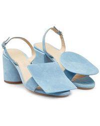Jacquemus 'les Rond Carré' Sandals In Light Blue Suede