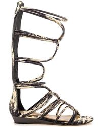 BCBGMAXAZRIA Brixton Leather Gladiator Flat Sandals - Brown