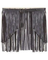 BCBGMAXAZRIA Black Fringe Studded Belt