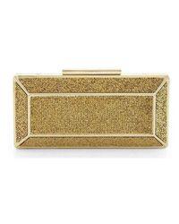 BCBGMAXAZRIA Gold Crystal Embellished Grace Clutch - Metallic
