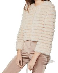 BCBGMAXAZRIA Sophiana Faux Fur Jacket - Natural