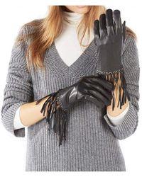 BCBGMAXAZRIA Leather Fringe Gloves - Black