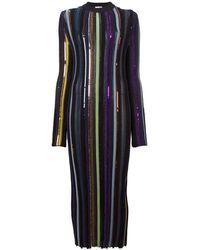 Nina Ricci Long Sleeve Sequin Embellished Knit Bayadere Dress - Multicolor