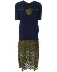 Sacai - Sweater Top Green Embroidered Dress - Lyst