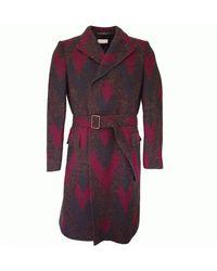 Dries Van Noten Zigzag Wool Coat - Purple
