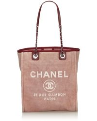 Chanel - Pink With Red Canvas Fabric Small Deauville Tote Italy W/ Authenticity Card - Lyst