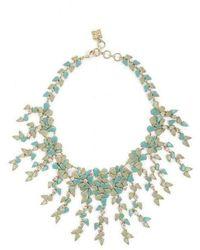 BCBGMAXAZRIA Drape Leaf Stone Necklace - Green