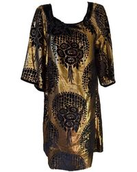 BCBGMAXAZRIA - Bcbg Maxazria Runway Gold And Black Lame Tunic Dress - Lyst
