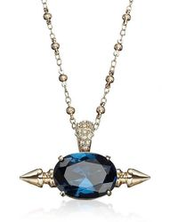 Mawi Spike And Oval Blue Crystal Necklace