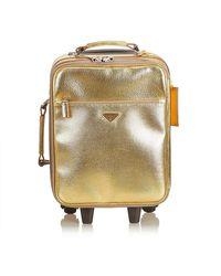 Prada Gold Leather Trolley Rolling Luggage - Metallic
