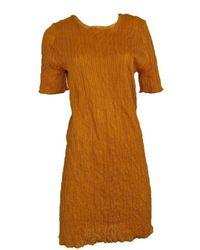 Nina Ricci Mustard Cocktail Crinkle Silk Dress - Brown