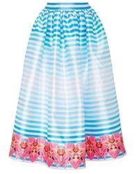 Manish Arora Pleated Print A-line Skirt - Blue