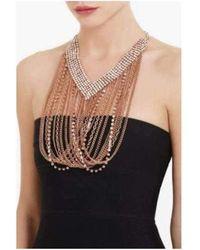 BCBGMAXAZRIA Draped Chain Rhinestone Necklace - Pink