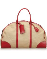 Prada Brown Beige With Red Canvas Fabric Leather Trimmed Weekender Italy W/ Key