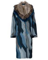 Dries Van Noten Faux Fur & Denim Patchwork Jacket - Blue