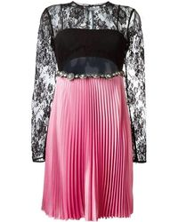 Fausto Puglisi Floral Lace Pleated Dress - Pink