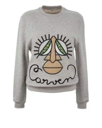 Carven Woven Gray Cotton Embroidered Face Sweatshirt