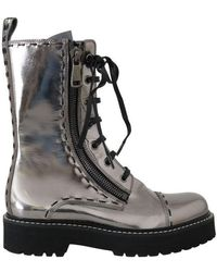 Dolce & Gabbana Silver Leather Mid Calf Boots - Black