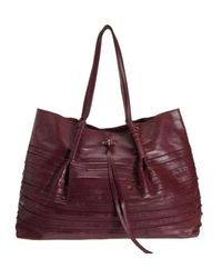 Nina Ricci Liane Tiered Large Duffel Burgundy Leather Shoulder Bag - Purple