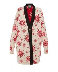 Fausto Puglisi Knit Star Ivory Red Caban Coat - Orange