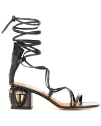 Valentino Valentino Gladiator Mask Leather Sandals - Black