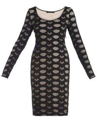 BCBGMAXAZRIA Bcbg Maxazria Tanya Long Sleeve Lace Dress Dgl68b04-001 - Black