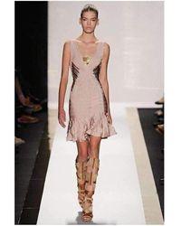 Hervé Léger Herve Leger Gold Metal Nude Flared Bandage Dress - Multicolour