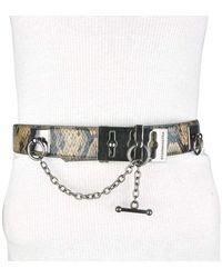BCBGMAXAZRIA Faux Snake Leather Metallic Chain Toggle Belt - Brown