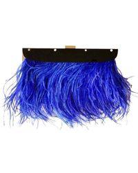 BCBGMAXAZRIA Portia Blue Feather-trim Lucite Clutch