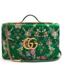 35a44613a6fc Gucci - Green Gg Marmont Maxi Floral-jacquard Shoulder Bag - Lyst