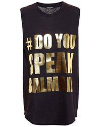 "Balmain ""do You Speak "" Sleeveless T-shirt - Black"