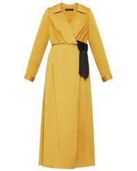 BCBGMAXAZRIA Satin Polka Dot Sash Dress - Yellow