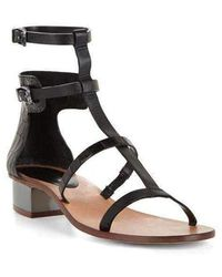 BCBGMAXAZRIA Crocodile Pattern Cross T-strap Sandal - Black