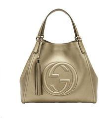 Gucci Soho Leather Medium Chain-strap Tote, Gold Beige - Multicolour