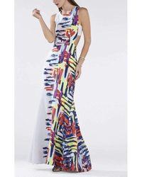 BCBGMAXAZRIA Zhanna Printed Open Back Gown - Multicolor