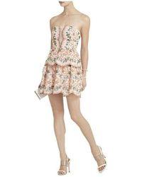 BCBGMAXAZRIA Guliana Embroidered Strapless Dress - Multicolor