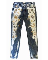 Fausto Puglisi Blue Bleach Skinny Metal Embellishment Jeans