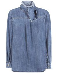 Chloé Tie Neck Light Denim Shirt - Blue