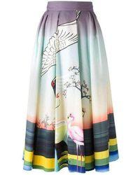Mary Katrantzou Flamingo Print Cotton Skirt - Multicolour