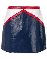 Courreges Blue And White Vinyl Mini Skirt
