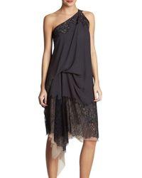 BCBGMAXAZRIA Runway One-shoulder Lace-trim Dress - Black