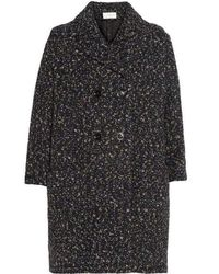Chloé Grey Confetti Boucle Tweed Cocoon Coat