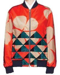 Dries Van Noten Orange Print Cotton Blend Bomber Jacket