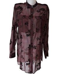 Dries Van Noten Burgundy Floral Silk Blend Shirt - Multicolor
