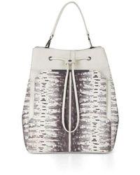 BCBGMAXAZRIA Runway Print-blocked Leather Backpack Bag Dfe538rw-1o6 - Multicolor